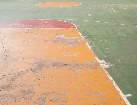 playground basketball: Old concrete basketball court outdoor