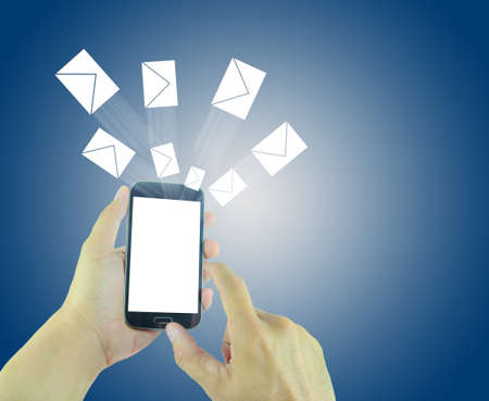 flying man: Man hands using smart phone with flying envelopes.