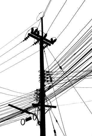 isolator insulator: Electricity post and many cable on black and white color Stock Photo
