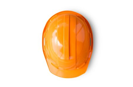 Orange safety engineer helmet on white background. top view for design Stock Photo