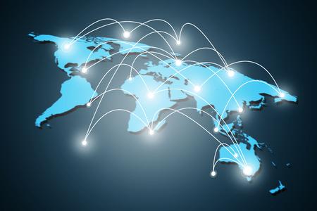 概念シリーズからグローバル ビジネスの最高のインターネットの概念、接続記号通信回線です。 写真素材