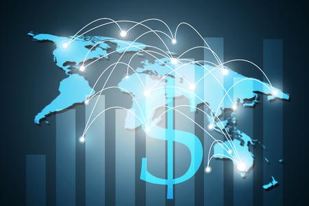 概念シリーズからグローバル ビジネスのインターネットの概念と、ドル記号を二重露光、接続記号通信回線です。 写真素材