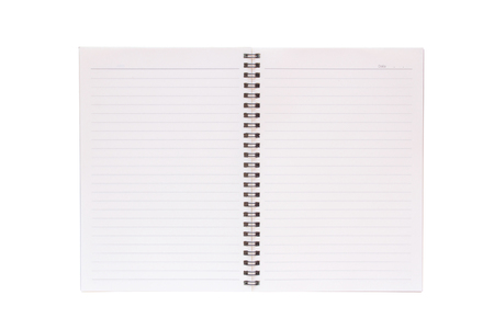 Blank open memory notebook isolated on a white background.