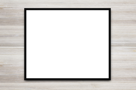 Blank advertising billboard or wide screen television with old vintage wood background, commercial and marketing concept, copy space for text or media content.