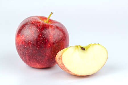 Close up sliced red apple isolated on a white background.fruit healthy concept. Stock Photo
