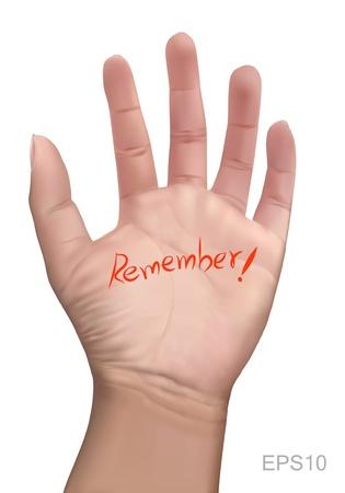 Illustratie van rode gedenkteken notitie op een hand met isoleren achtergrond