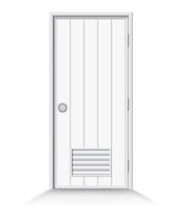 door swings: Illustration of pvc bathroom door with shadow on isolate background