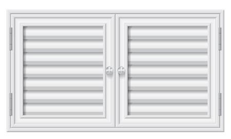door swings: Illustration of white pvc door shutters on isolate background