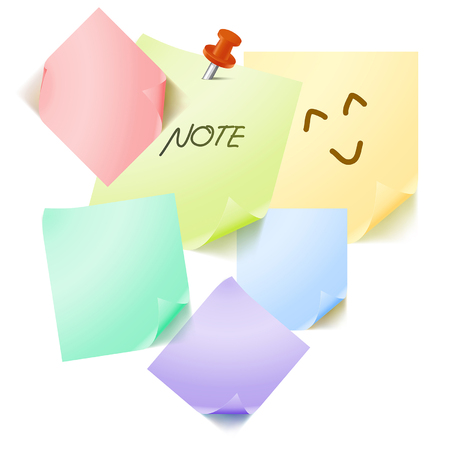 Illustration various color post it note