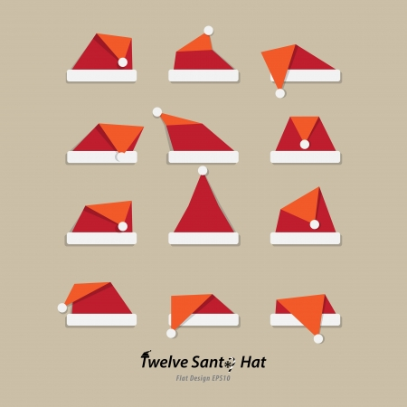 winter hat: Santa hat flat icon Illustration