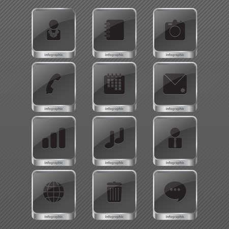 Illustration of infographic icon monochrome Vector