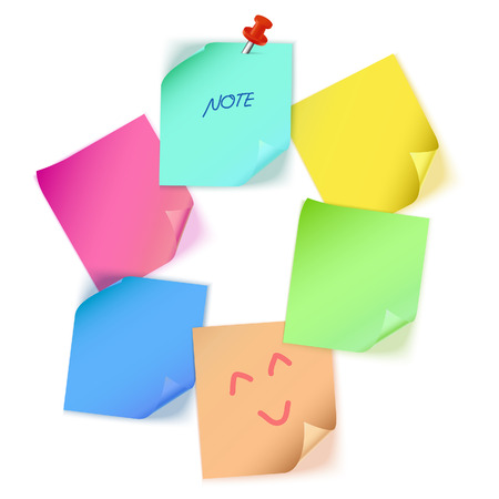 paper note: Various color paper note Illustration
