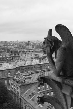 grotesque: Gargoyle on Notre Dame overlooking Paris on a cloudy day