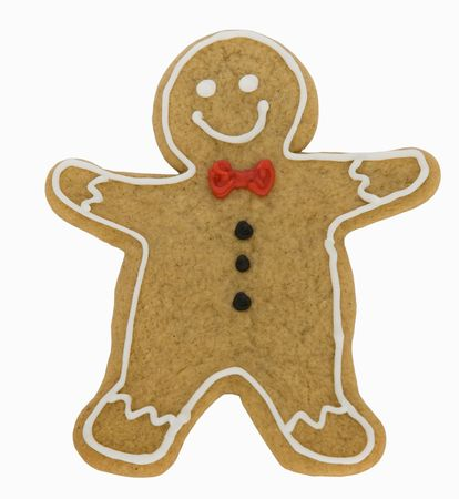 Gingerbread man isolated against a white background photo