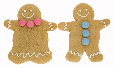 Gingerbread man and woman isolated against white photo