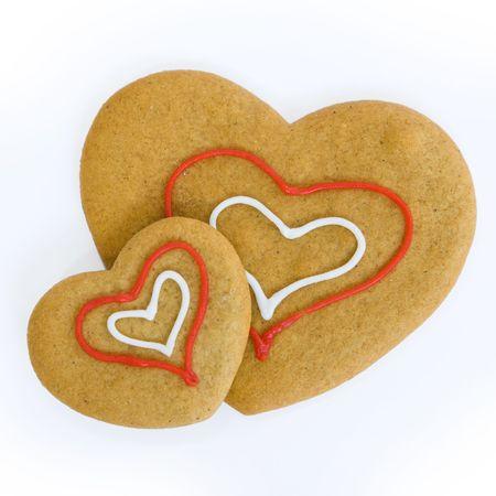 "Pan de jengibre con forma de coraz�n de dos ""cookies"""