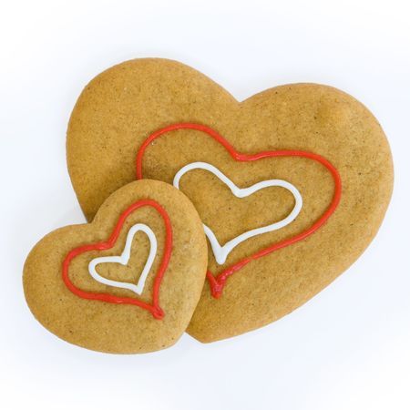 gingerbread cookies: Two heart shaped gingerbread cookies