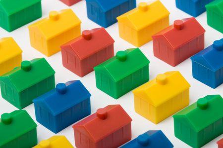rij huizen: Kleurrijke huizen model Stockfoto