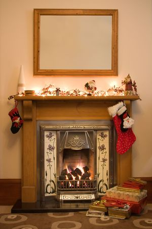 livingroom: Victorian style fireplace ready for Christmas