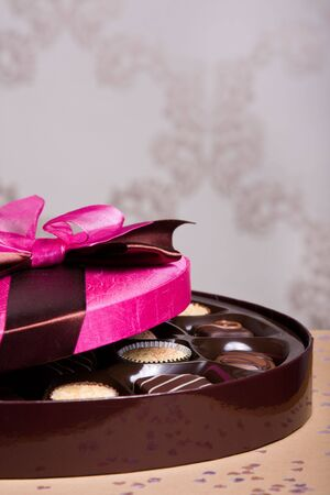 pink satin: Luxury chocolates with a pink satin lid Stock Photo