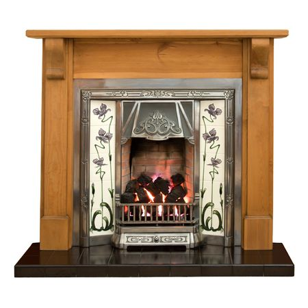 livingrooms: Victorian style tiled fireplace with pine surround