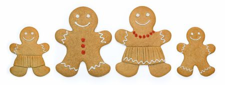 christmas gingerbread: Smiling gingerbread family