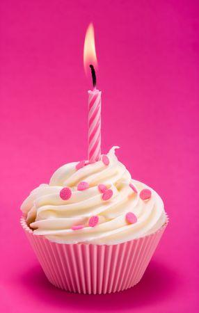 Pink birthday cupcake  photo