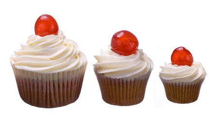 medium size: Three cherry cupcakes  Stock Photo