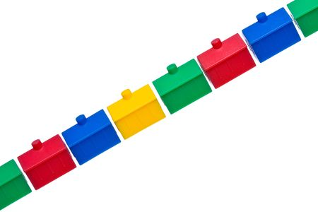 Row of colorful model houses photo