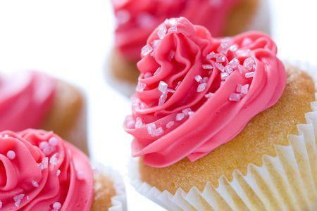 Closeup de cupcakes rosa Foto de archivo