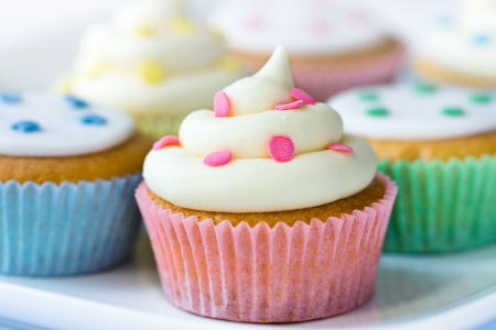 home baking: Selection of colorful cupcakes
