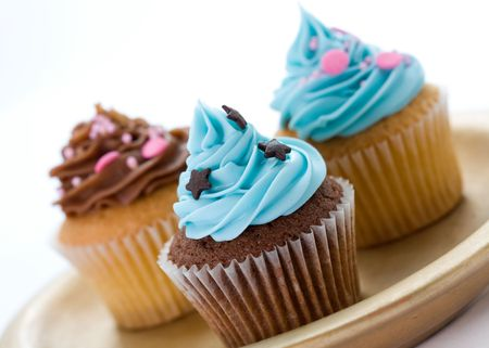 home baking: Selection of cupcakes on a plate