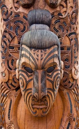 Maor� talla en Rotorua, Nueva Zelanda Foto de archivo