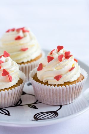 loveheart: Loveheart cupcakes Stock Photo