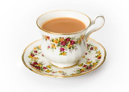 Tea served in a traditional English cup and saucer