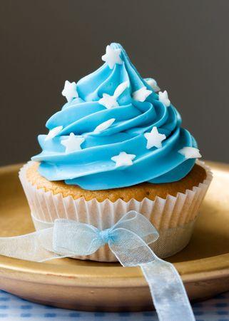 cupcake: Blue petit g�teau Banque d'images