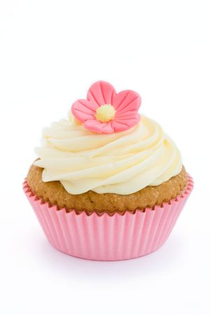 cupcakes isolated: Pink cupcake
