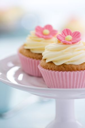 Pink flower cupcakes  photo