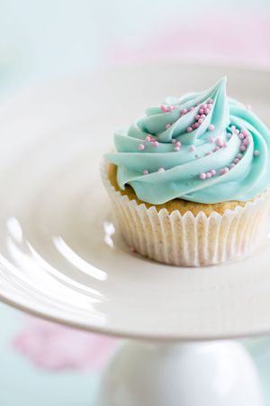 Cupcake decorated with pink sugar sprinkles Stock Photo - 5034040
