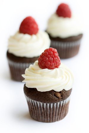 Chocolate and raspberry cupcakes Stock Photo - 5060723