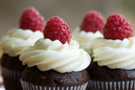 Chocolate and raspberry cupcakes photo