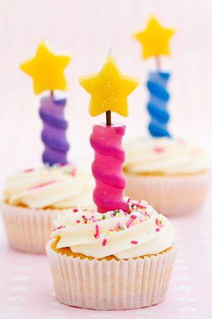 Three birthday cupcakes photo