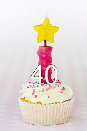 fattening: Mini fortieth birthday cake  Stock Photo