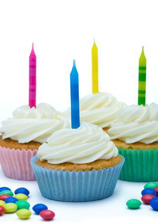 cupcakes isolated: Birthday cupcakes