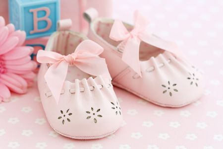 baby shower party: Pink baby shoes
