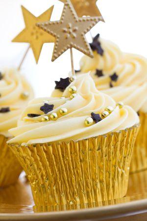 Golden cupcakes photo
