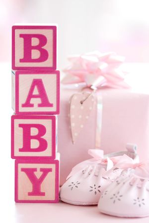 baby shower party: Pink baby building blocks