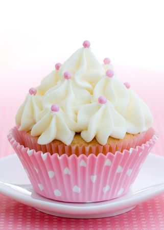 cup cakes: Pink and white cupcake
