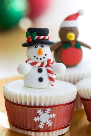 fancy cakes: Christmas cupcakes  Stock Photo