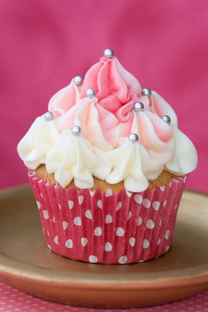 fairy cake: Pink and white cupcake